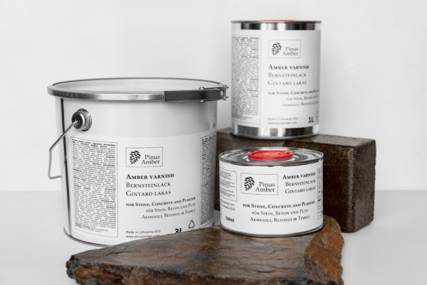 Varnish for stone, concrete and plaster of natural Baltic amber